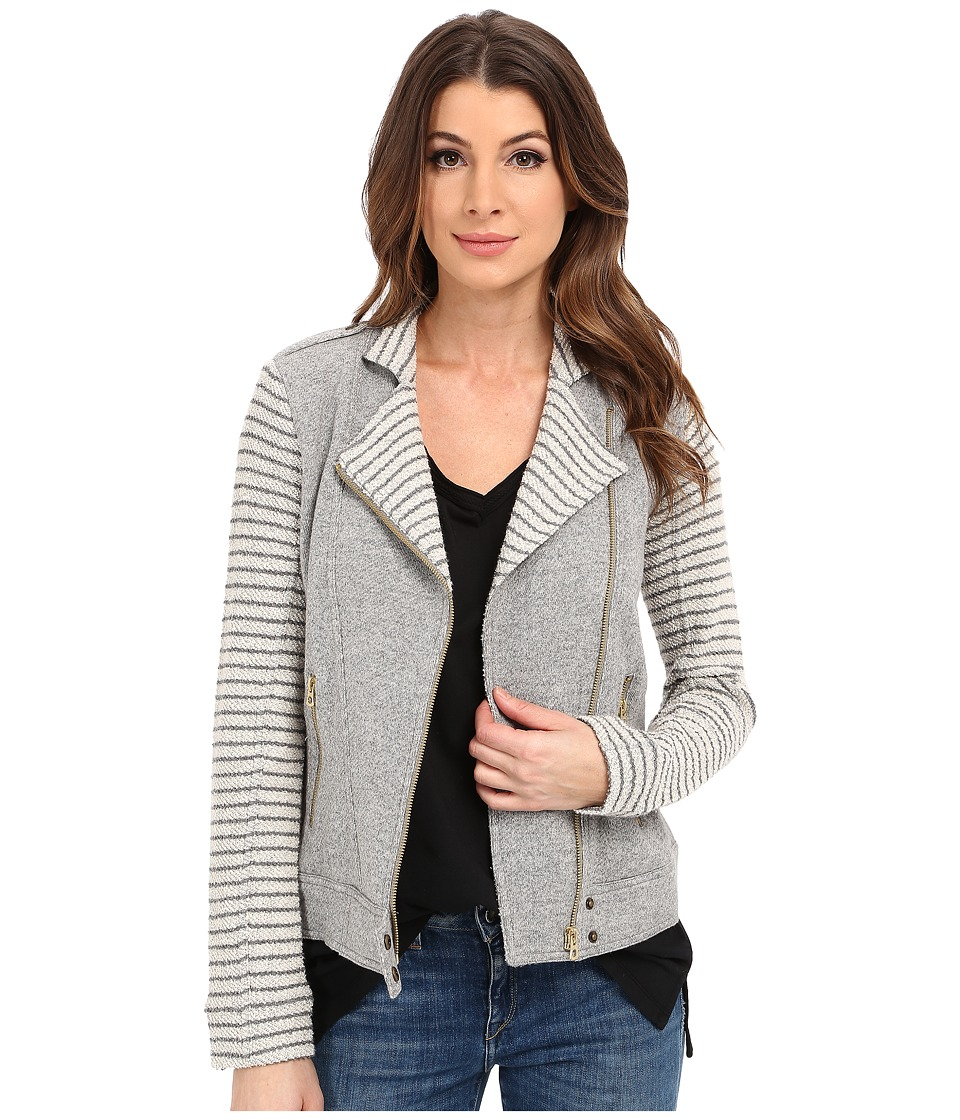 Lucky Brand - Mixed Stripe Moto Jacket (Heather Grey) Women's Coat