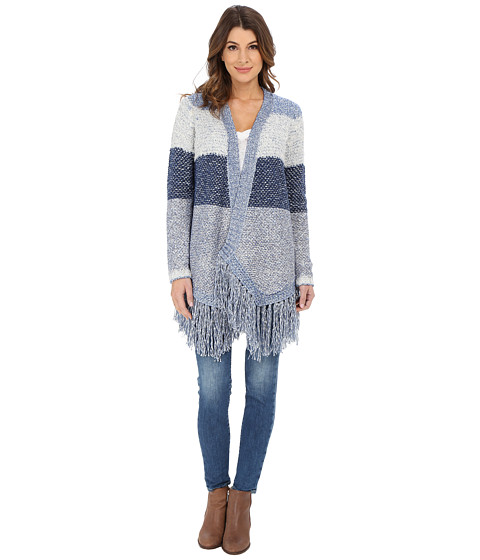 Lucky Brand - Textured Stripe Duster (Blue Multi) Women's Clothing