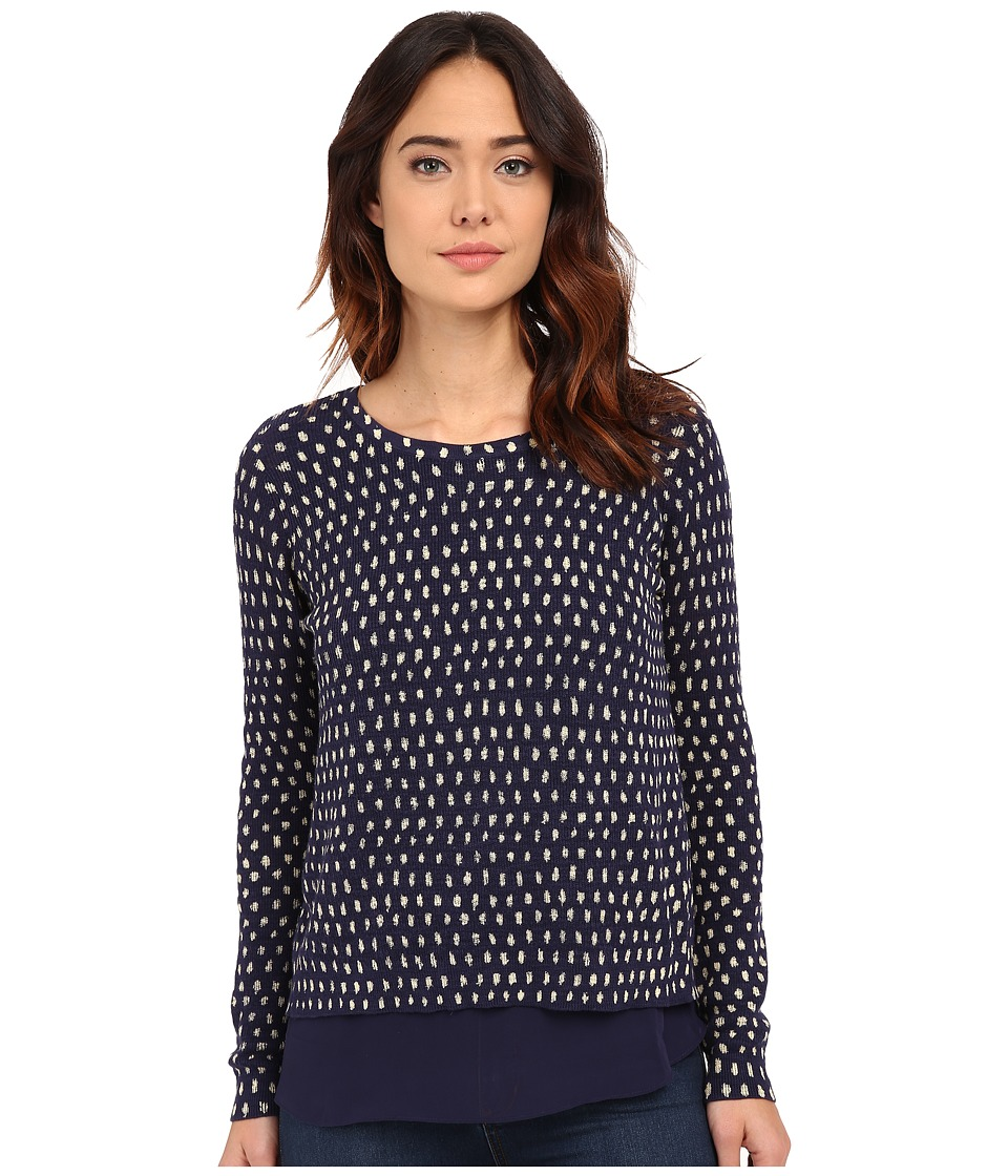 Lucky Brand - Polka Dot Printed Pullover (Blue Multi) Women's Sweater