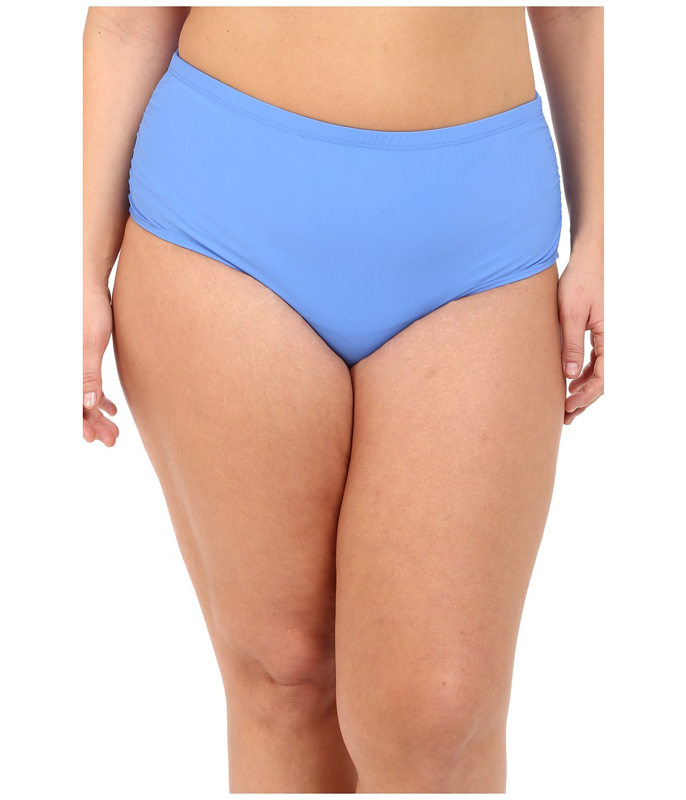Athena Plus Size Cabana Solids Mid Waist Shirr Side Pants (Blue) Women