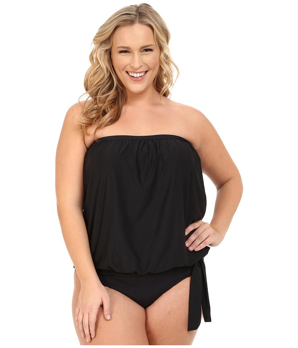 Athena - Plus Size Cabana Solids Soft Cup Bandini (Black) Women's Swimwear