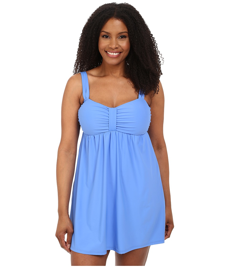 Athena - Plus Size Cabana Solids Molded Cup Swim Dress w/ Hidden Hook and Eye Tail One-Piece (Blue) Women's Swimsuits One Piece plus size,  plus size fashion plus size appare
