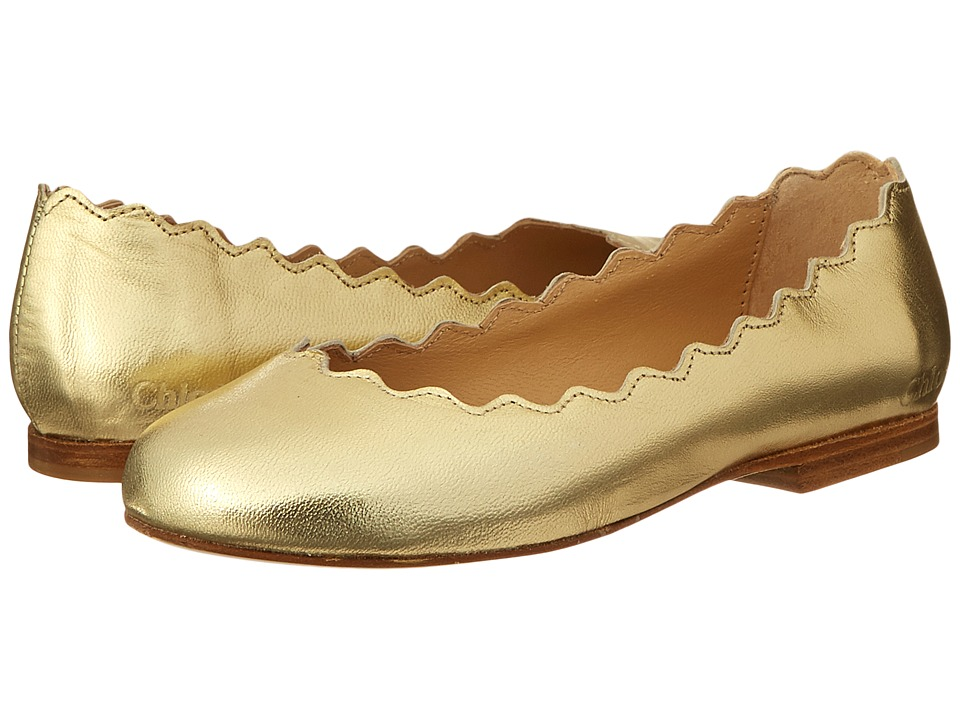 Chloe Kids - Leather Ballerinas (Toddler/Little Kids/Big Kids) (Gold) Girls Shoes