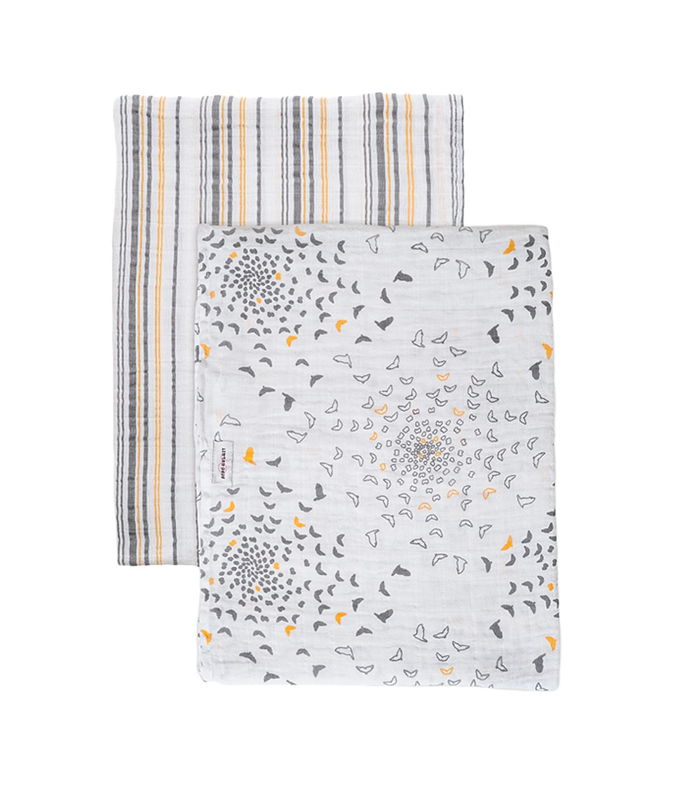Bebe au Lait - Muslin Swaddles 2-Pack (Sparrow/Vintage Strip) Accessories Travel