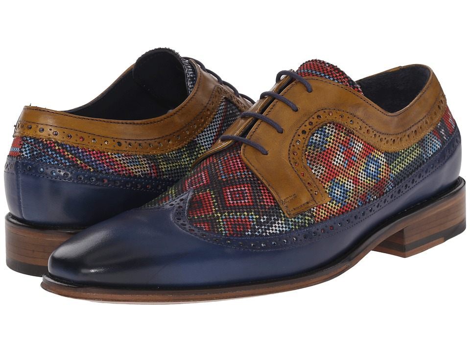 Messico - Heriberto (Blue/Red Textile/Yellow Leather) Men's Shoes