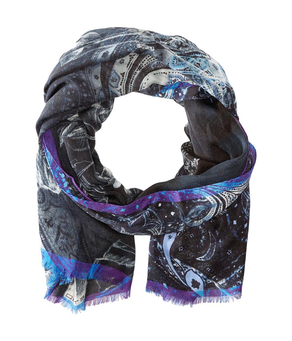 Etro - Dark Paisley Blend Scarf (Black Paisley) Scarves