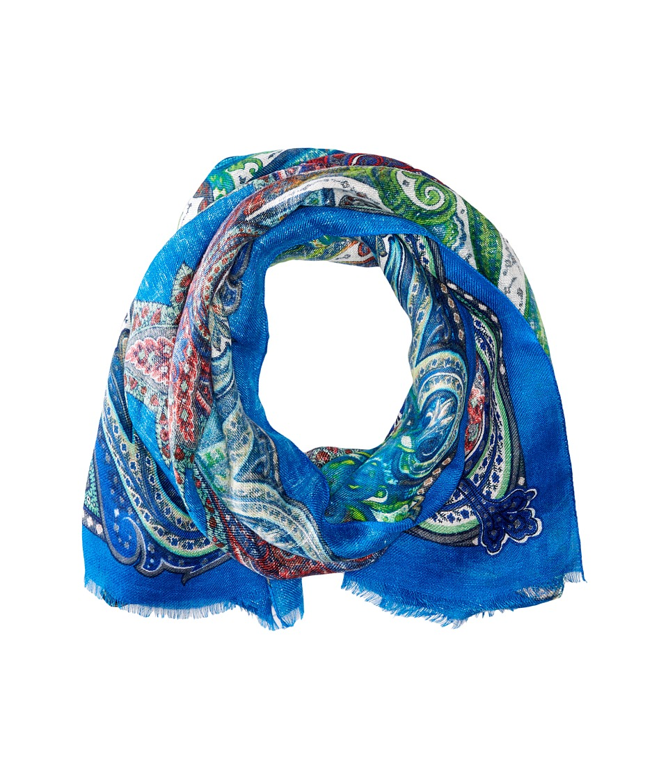 Etro - Paisley Pattern Linen Scarf (Blue Paisley) Scarves