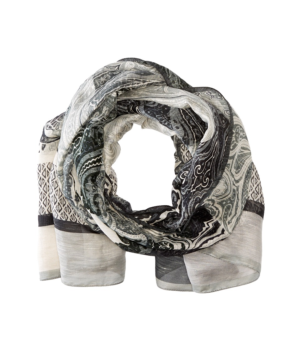 Etro - Patterend Linen Silk Scarf (Black Multi) Scarves