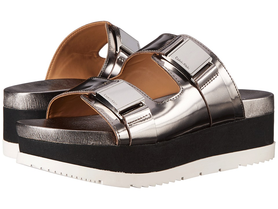 Calvin Klein - Casely (Anthracite Box Metallic Leather) Women's Sandals