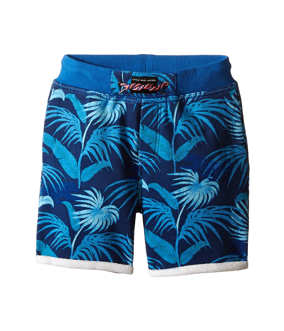 Little Marc Jacobs - Fleece Shorts Jungle Print (Toddler/Little Kids) (Blue) Boy's Shorts