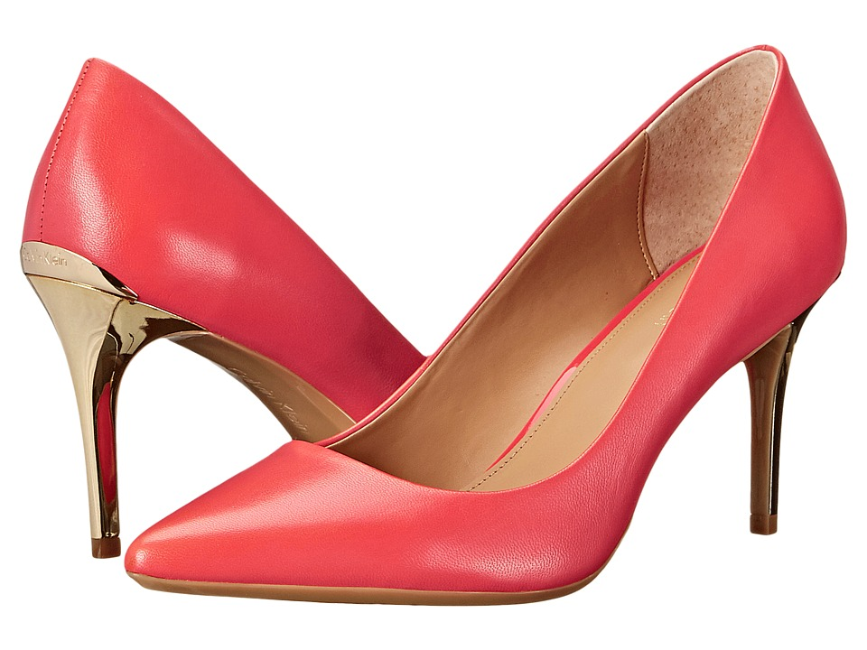 Calvin Klein - Gayle (Deep Coral Leather/Enamel) High Heels