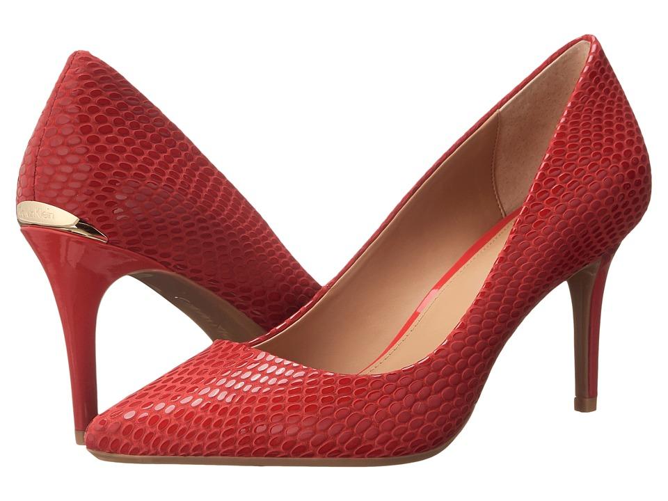 Calvin Klein - Gayle (Lipstick Red Laquered Snake) High Heels