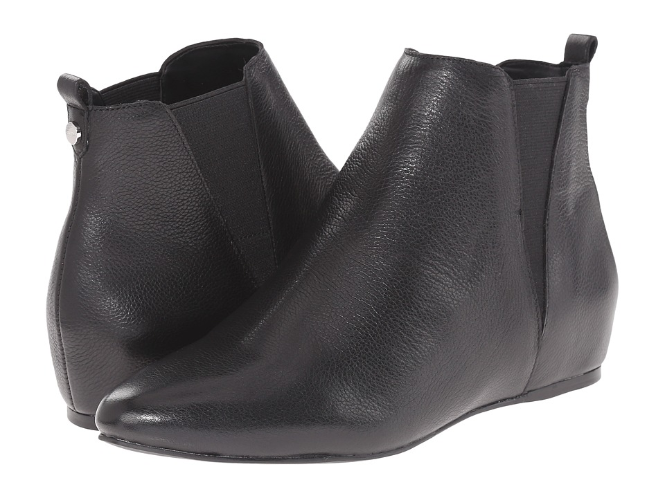 Calvin Klein - Magica (Black Toscana Leather/Elastic) Women's Pull-on Boots