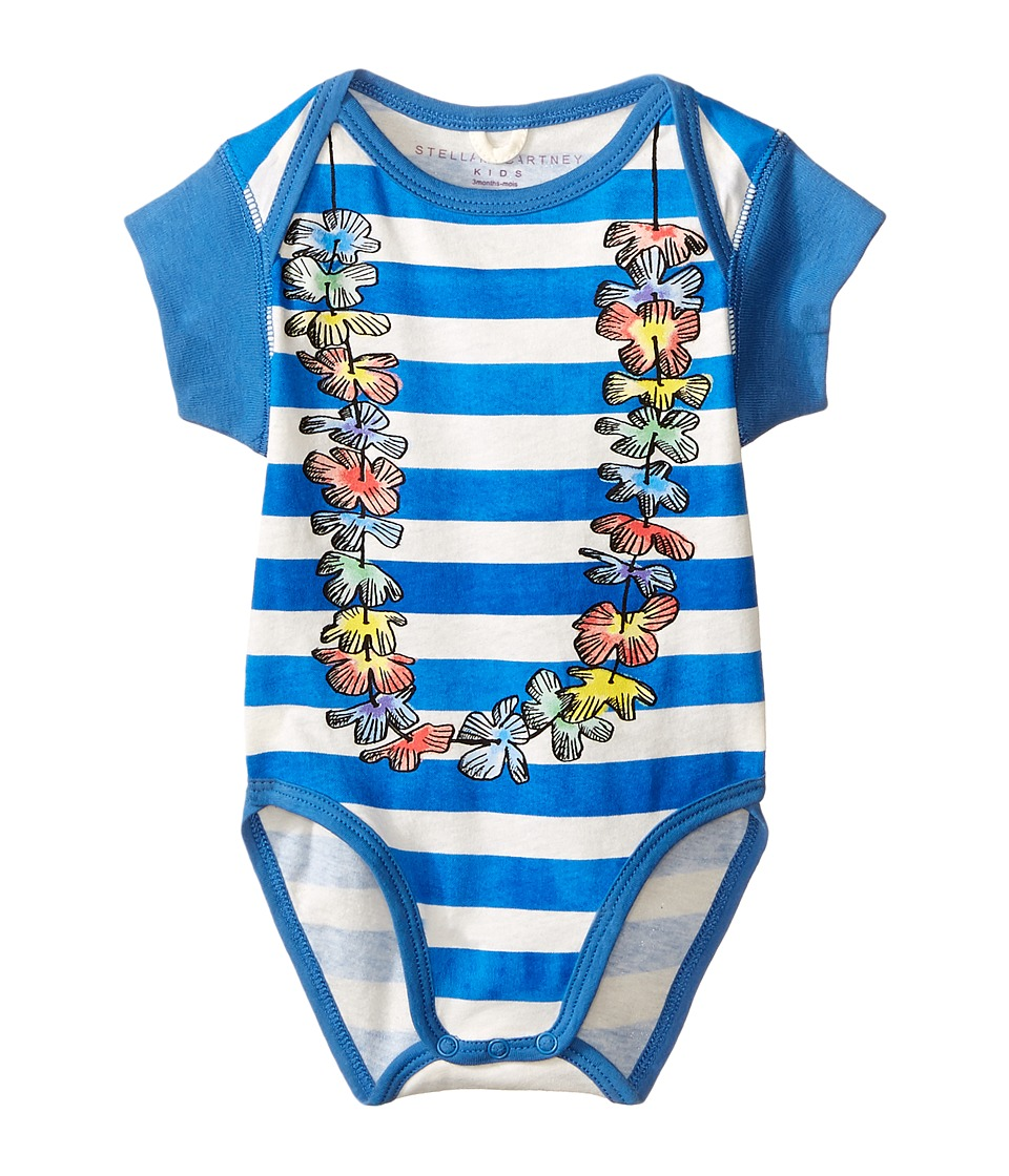 Stella McCartney Kids - Cassidy Short Sleeve Striped Lei Body (Infant) (Blue/White) Kid's Jumpsuit & Rompers One Piece