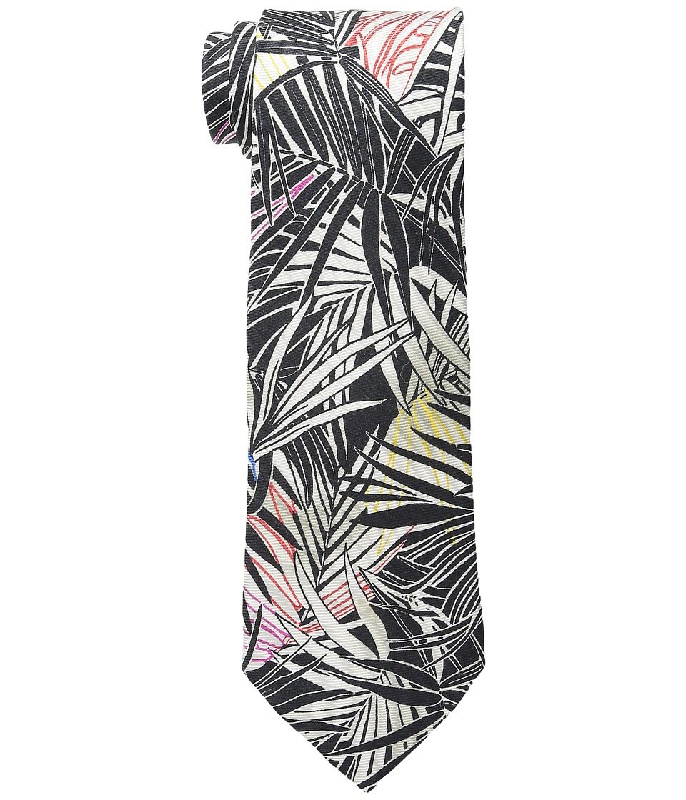Etro - Palm Pattern Regular Width Silk Tie (Black Palm) Ties