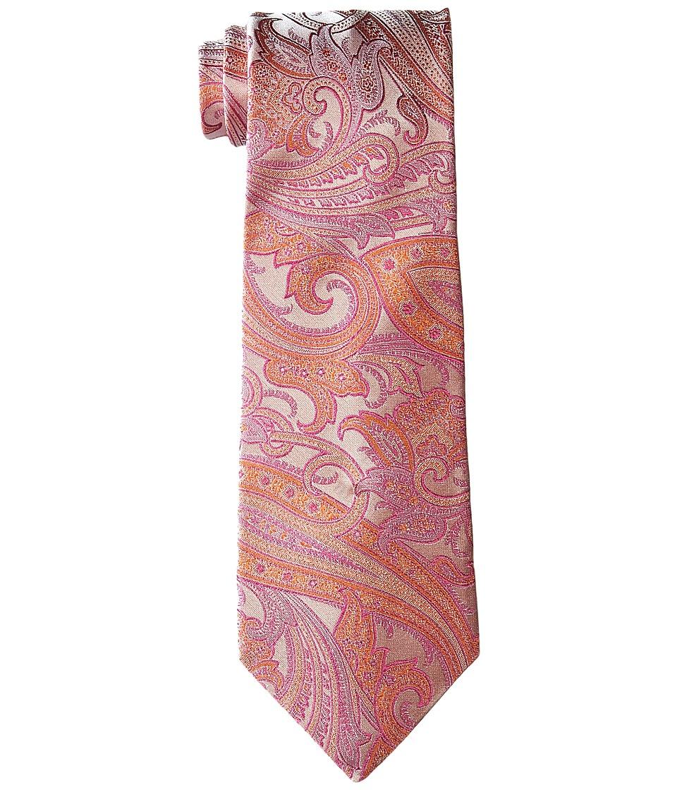 Etro - Glossy Paisley Regular Width Silk Tie (Orange Paisley) Ties