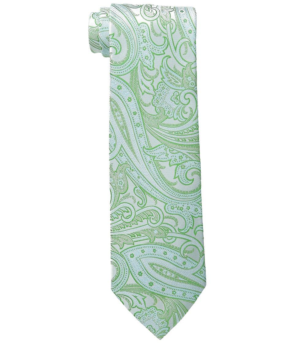 Etro - Glossy Paisley Regular Width Silk Tie (Green Paisley) Ties