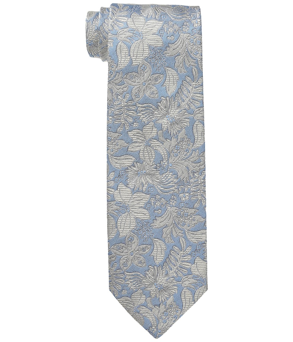 Etro - Floral Pattern Regular Width Silk Tie (Sky/Gold Floral) Ties