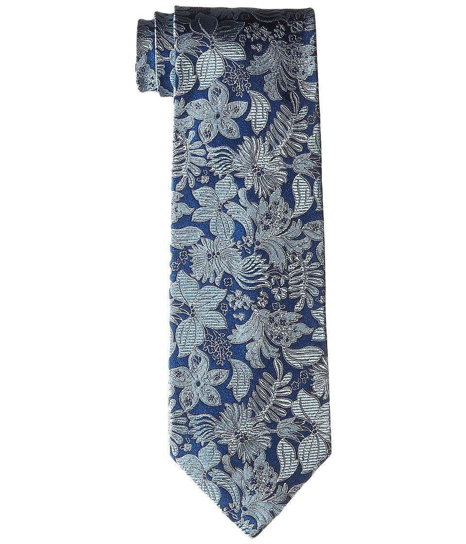 Etro - Floral Pattern Regular Width Silk Tie (Blue Floral) Ties