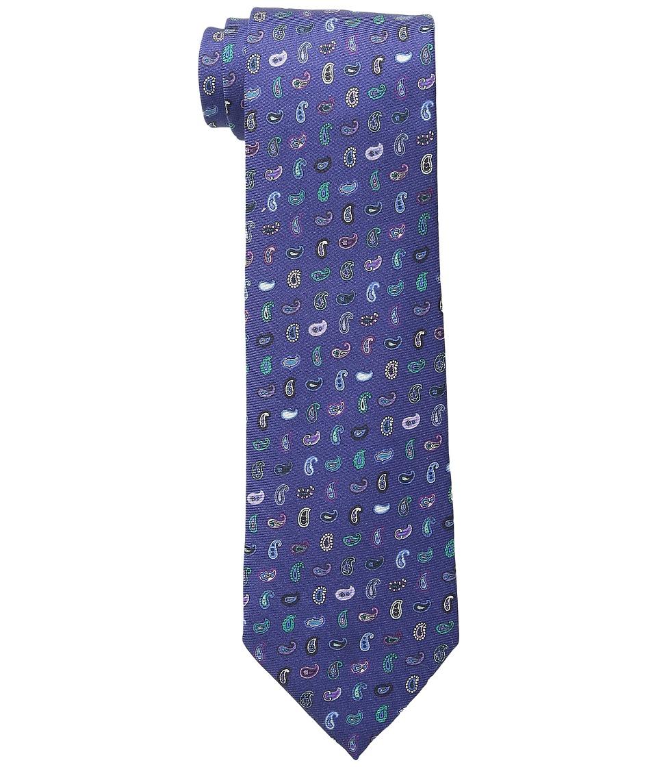 Etro - Allover Mini Paisley Regular Width Silk Tie (Blue Multi) Ties