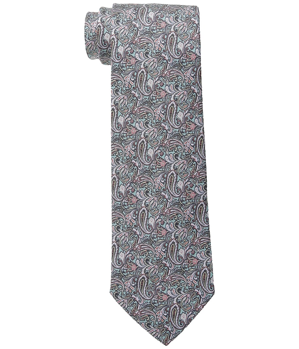 Etro - Floral Pattern Regular Width Silk Tie (Green/Navy) Ties