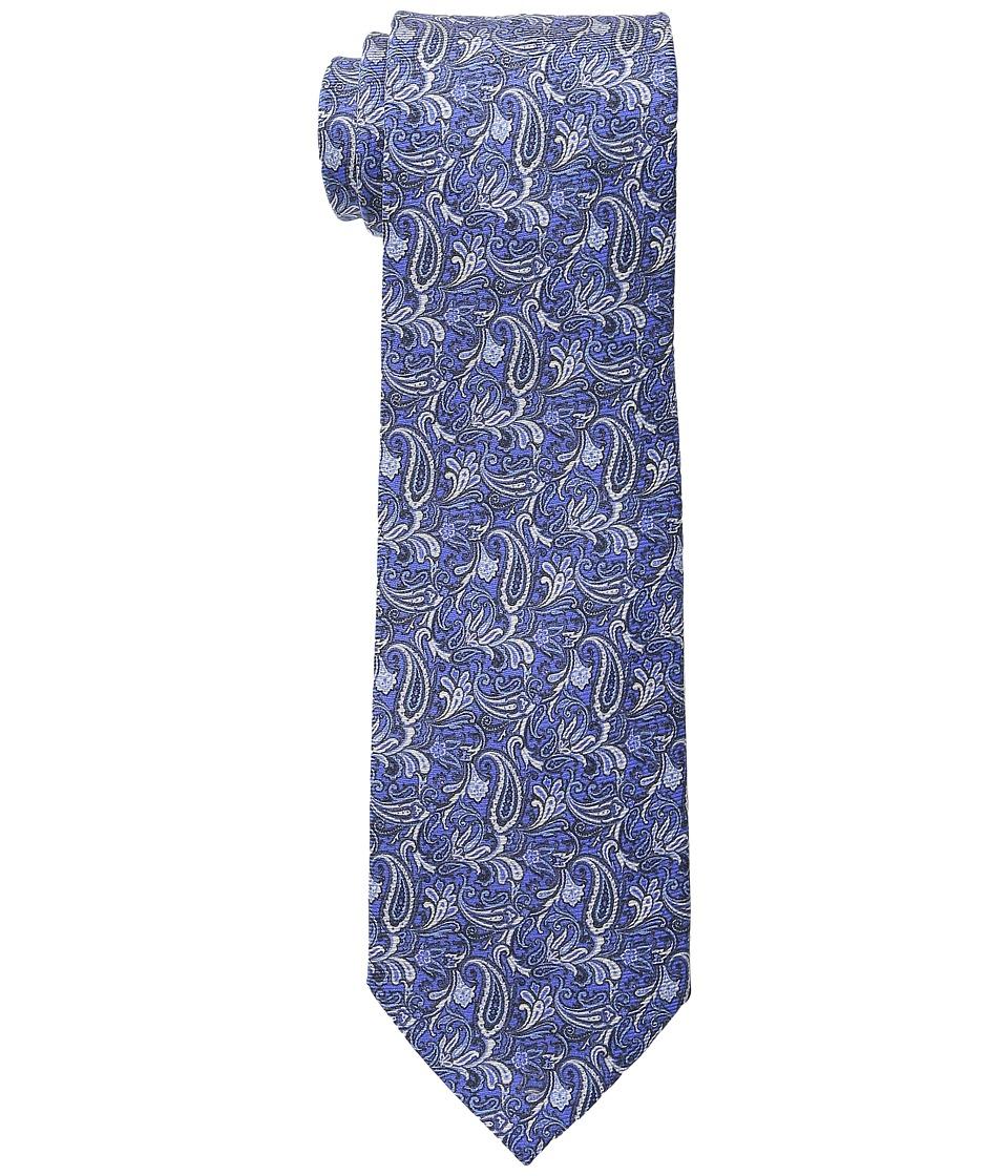 Etro - Floral Pattern Regular Width Silk Tie (Blue) Ties