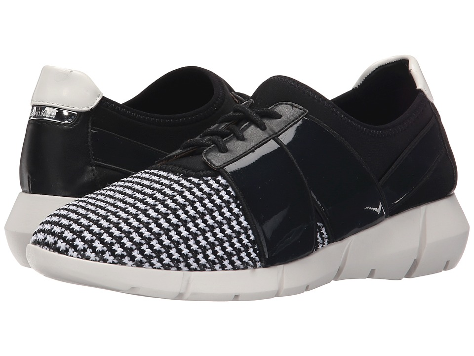 Calvin Klein - Wisteria (Black/White Stretch Knit/Leather) Women's Lace up casual Shoes