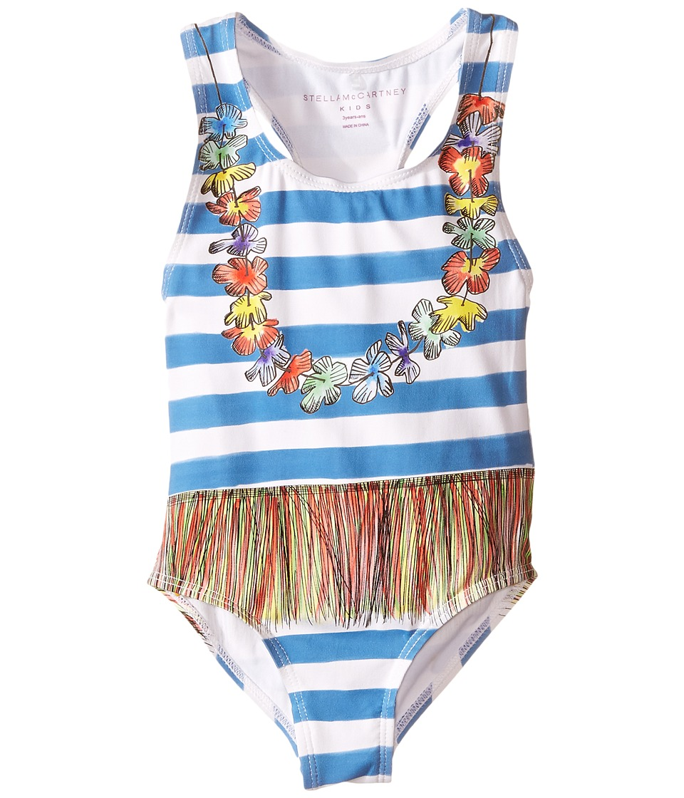 Stella McCartney Kids - Marcie Striped Lei Swimsuit (Toddler/Little Kids/Big Kids) (Blue/White) Girl's Swimsuits One Piece
