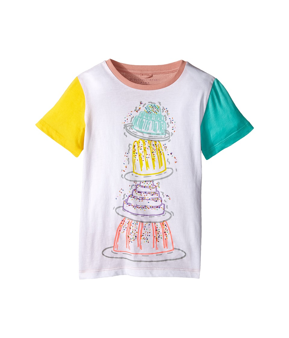 Stella McCartney Kids - Arlo Tiered Cake Tee w/ Contrast Sleeves (Toddler/Little Kids/Big Kids) (White) Girl's T Shirt