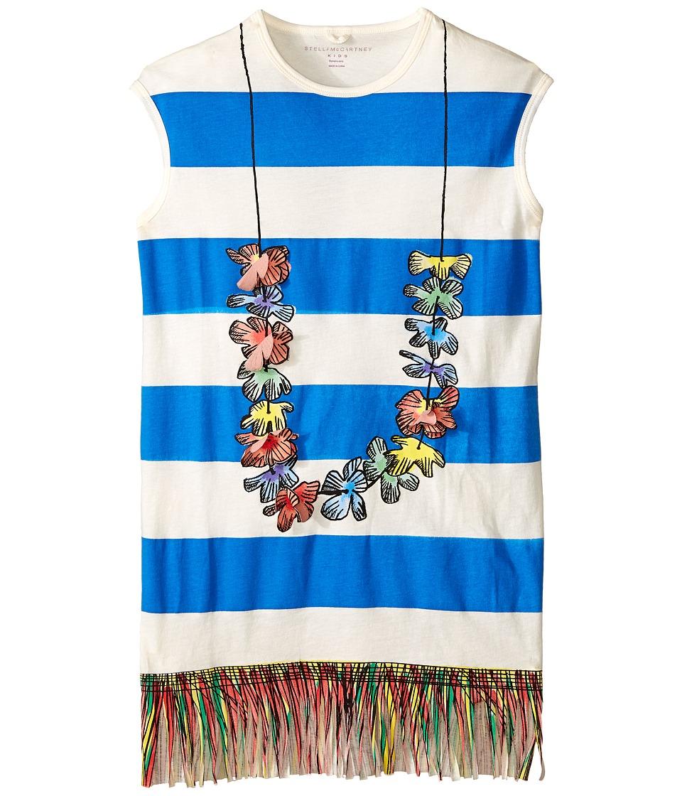 Stella McCartney Kids - Gray Striped Lei Dress w/ Fringe Bottom (Toddler/Little Kids/Big Kids) (Blue/White) Girl's Dress