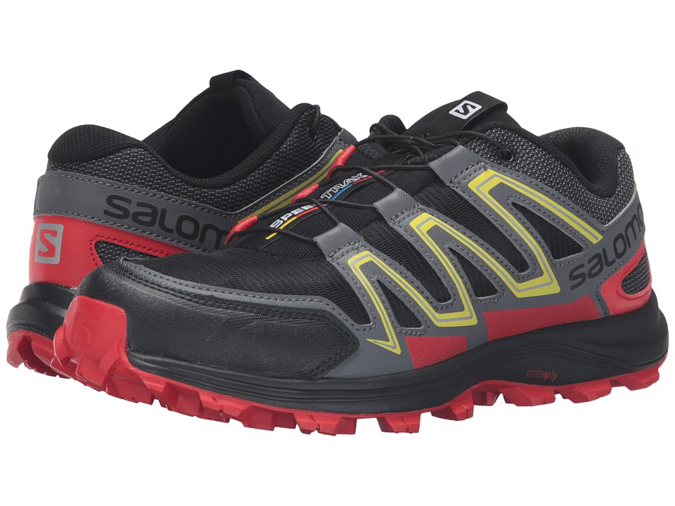 Salomon - Speedtrak (Black/Radiant Red/Corona Yellow) Men's Shoes