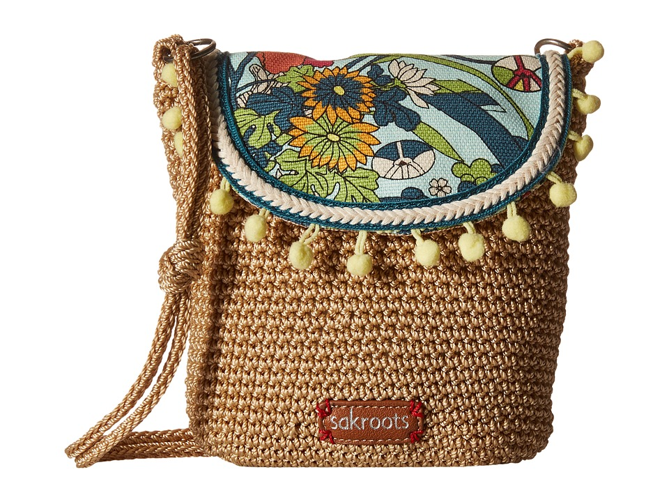 Sakroots - Artist Circle Crochet Flap Crossbody (Seafoam Flower Power) Cross Body Handbags