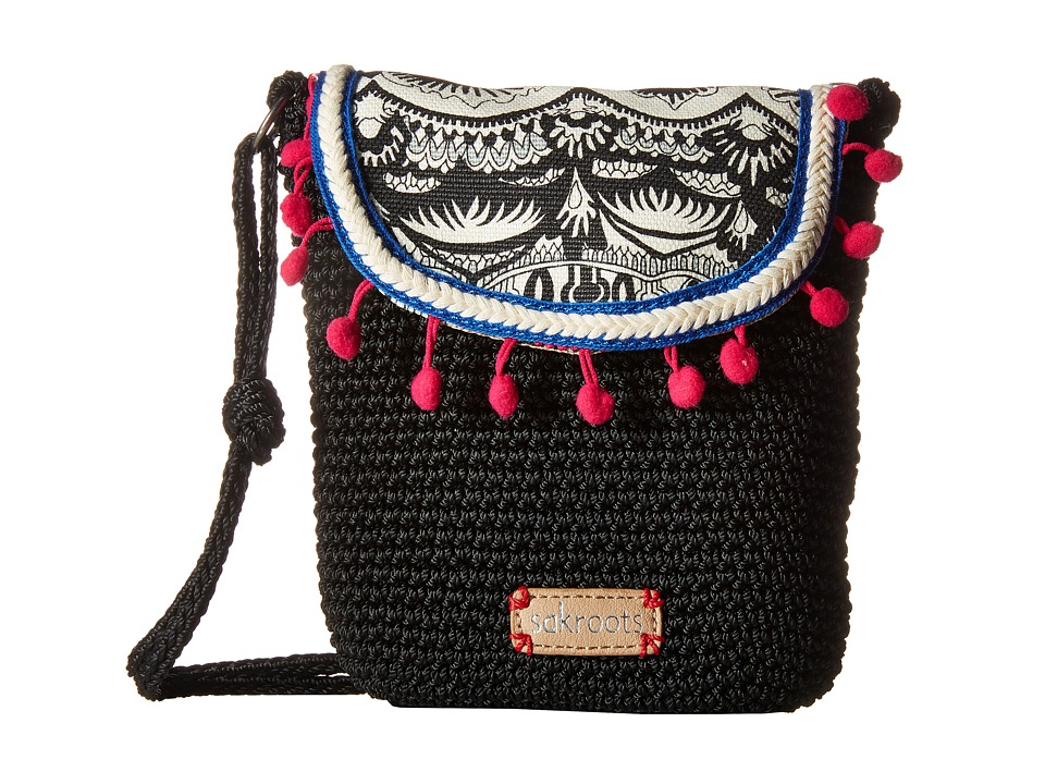 Sakroots - Artist Circle Crochet Flap Crossbody (Black/White One World) Cross Body Handbags