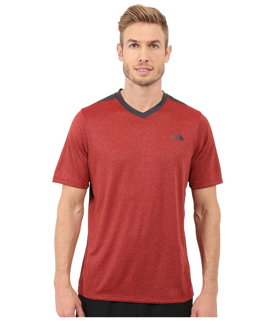 The North Face - Reactor Short Sleeve V-Neck (Pompeian Red Heather/Asphalt Grey) Men's Clothing
