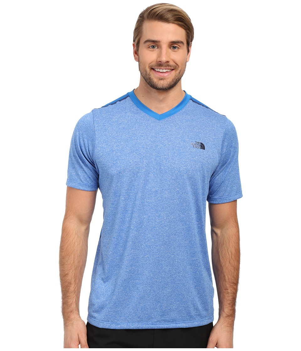 The North Face Reactor Short Sleeve V-Neck (Bomber Blue Heather/Bomber Blue) Men