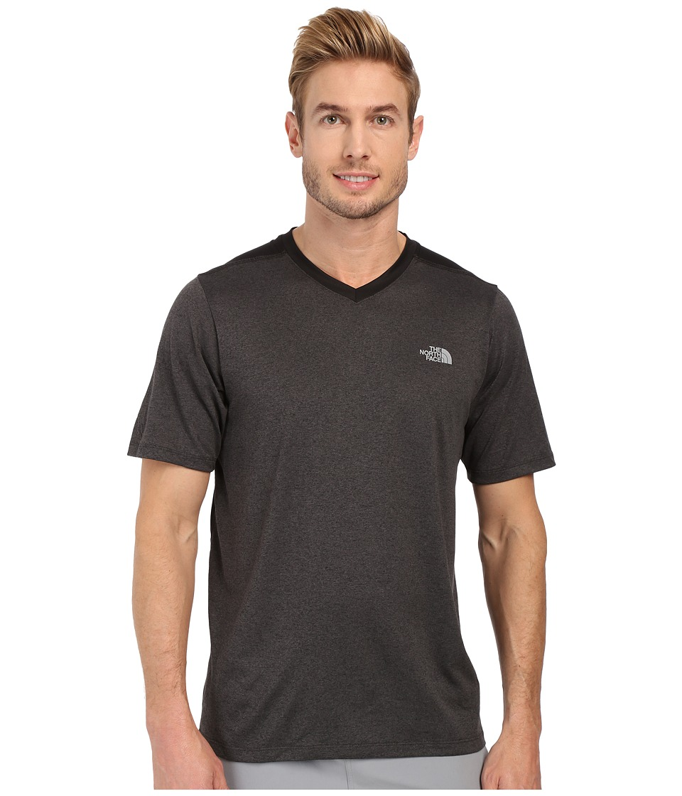 The North Face - Reactor Short Sleeve V-Neck (TNF Dark Grey Heather/TNF Black) Men's Clothing