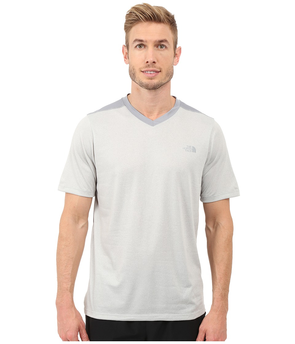 The North Face Reactor Short Sleeve V-Neck (Vaporous Grey Heather/Mid Grey) Men