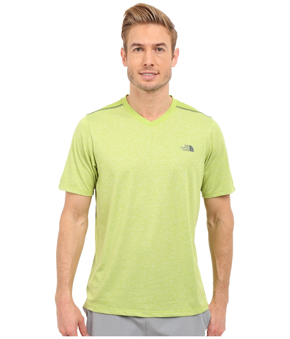 The North Face Reactor Short Sleeve V-Neck (Macaw Green Heather/Macaw Green) Men