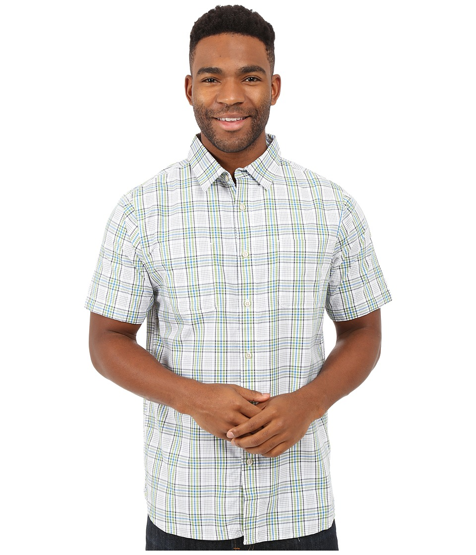 The North Face - Short Sleeve Off The Grid Plaid Shirt (TNF White/Vibrant Green Plaid) Men's Clothing