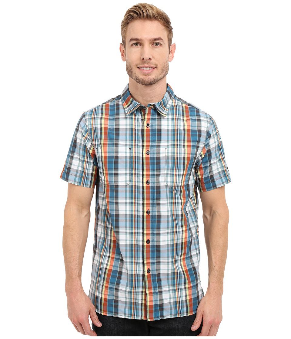 The North Face Short Sleeve Solar Plaid Shirt (Blue Coral/Asphalt Grey Plaid (Prior Season)) Men