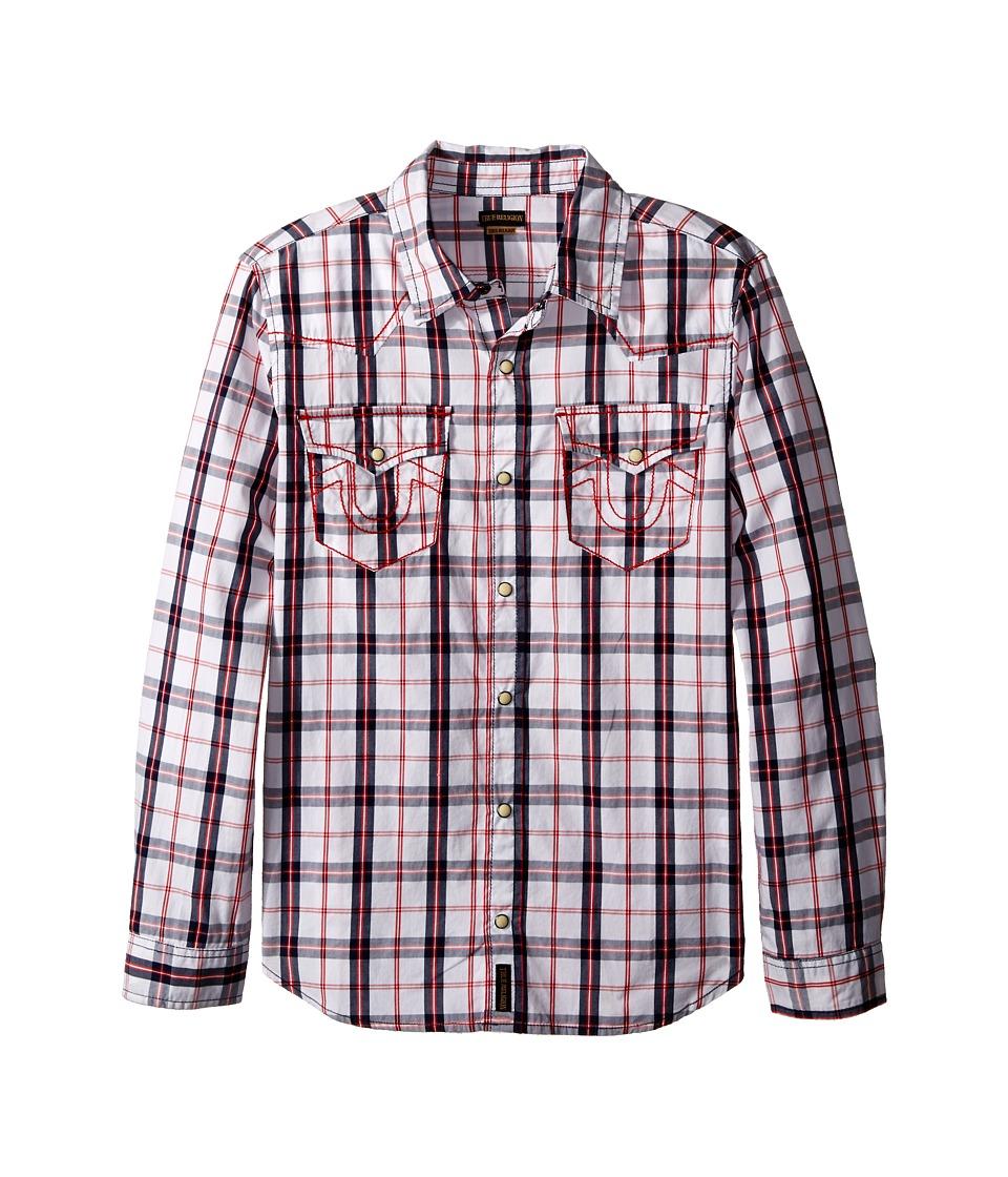 True Religion Kids - Plaid Woven Shirt (Toddler/Little Kids) (White) Boy's Long Sleeve Button Up