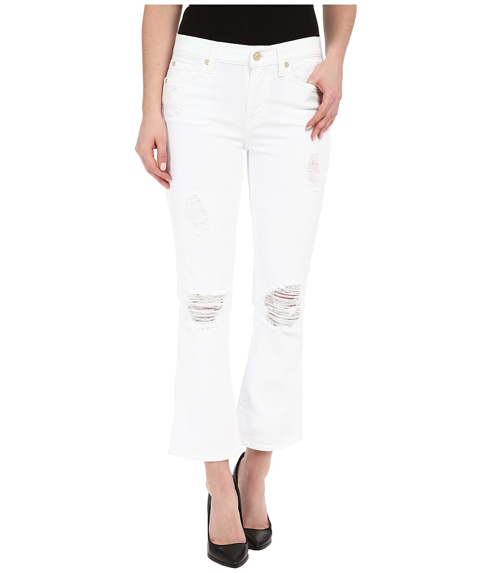 7 For All Mankind - Cropped Boot w/ Destroy in Clean White 3 (Clean White 3) Women's Jeans