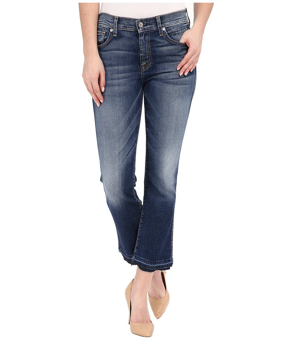 7 For All Mankind - Cropped Boot w/ Released Hem in Bright Indigo Stretch (Bright Indigo Stretch) Women