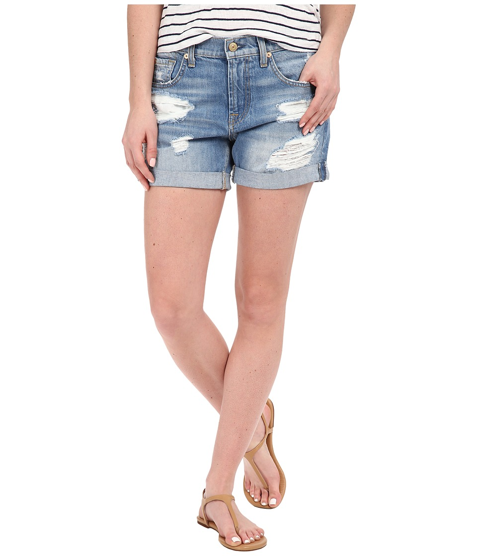 7 For All Mankind - Relaxed Mid Roll Shorts w/ Destroy in Rigid Blue Orchid (Rigid Blue Orchid) Women's Shorts
