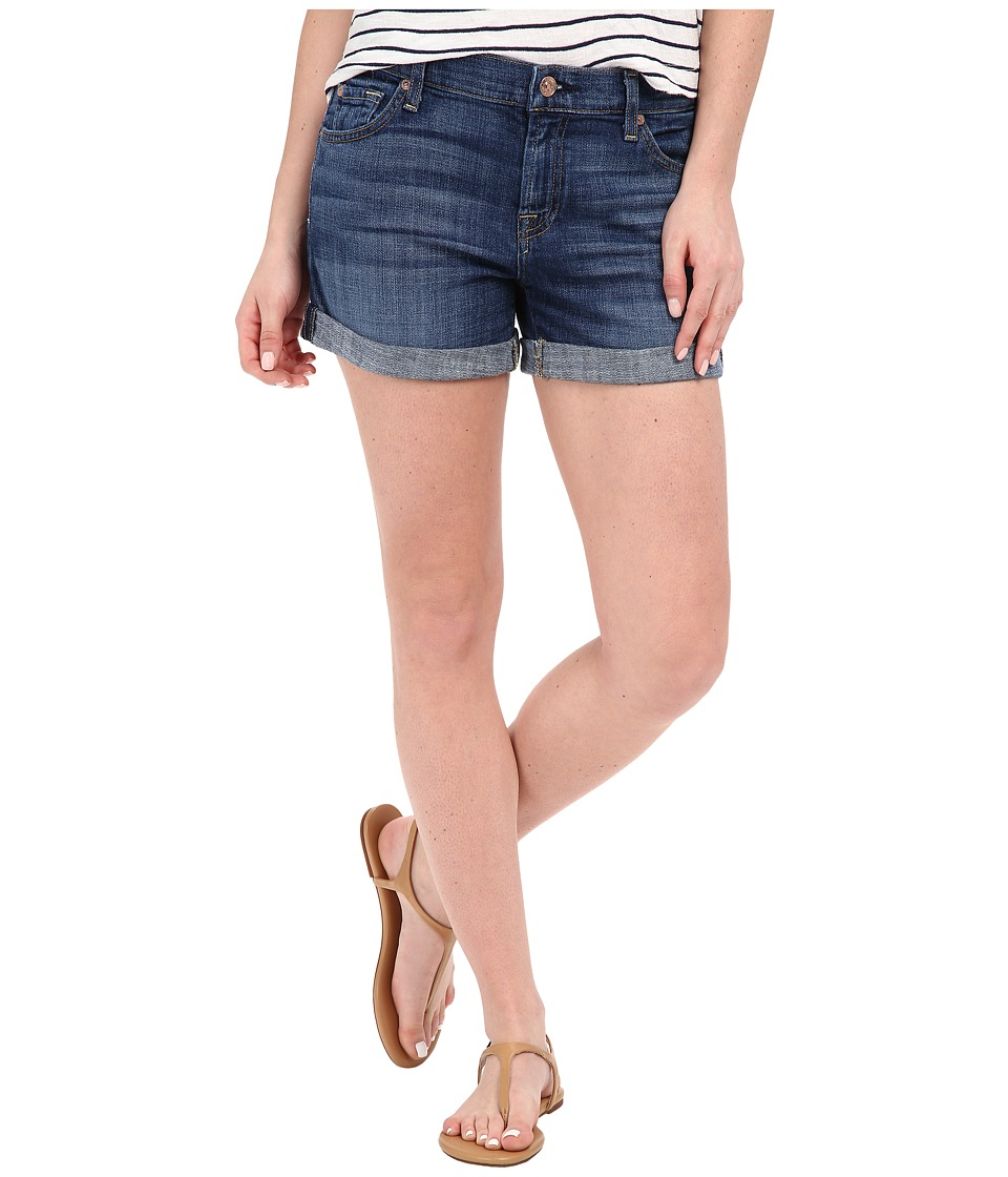 7 For All Mankind - Relaxed Mid Roll Up Shorts in Brilliant Blue Broken Twill (Brilliant Blue Broken Twill) Women's Shorts