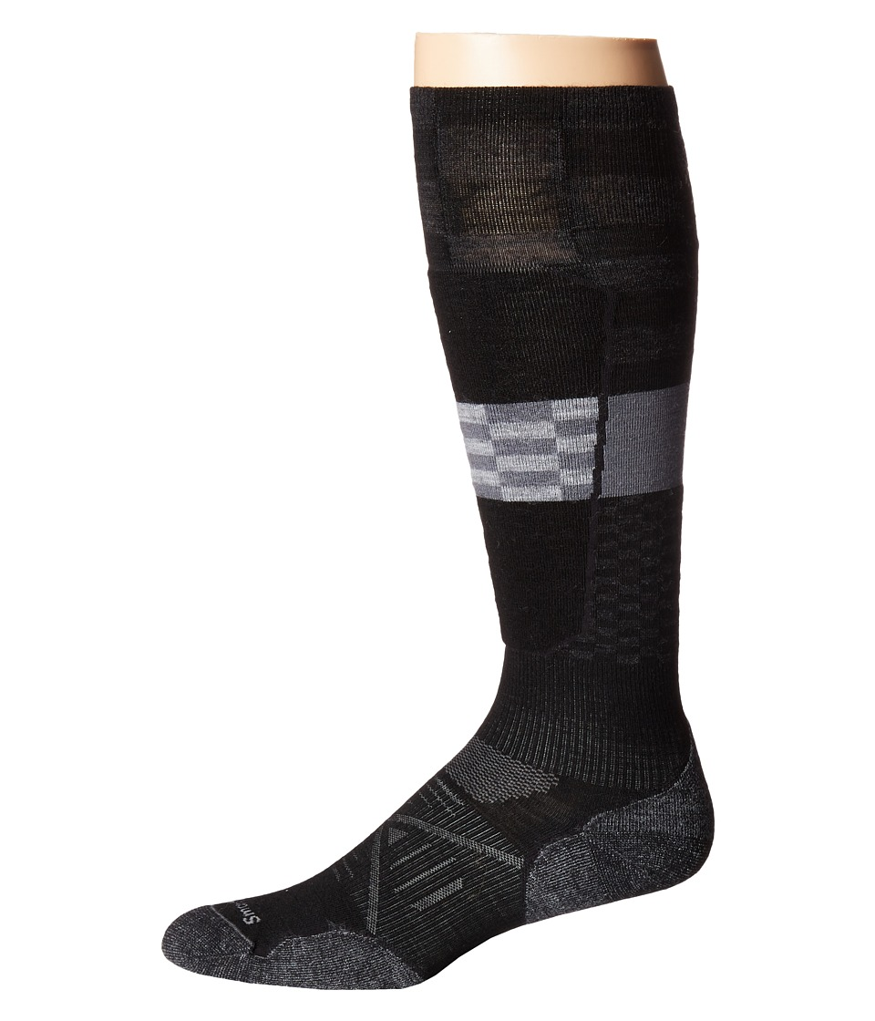 Smartwool - PhD Ski Light Elite Pattern (Black) Men's Crew Cut Socks Shoes