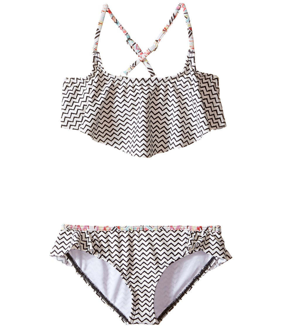 Billabong Kids - Gee Gee Geo Flutter Set (Little Kids/Big Kids) (Black Sands) Girl's Swimwear Sets