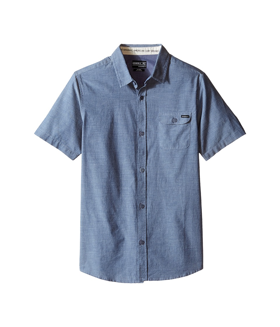 O'Neill Kids - Emporium Solid Short Sleeve Woven Top (Big Kids) (Blue) Boy's Short Sleeve Button Up