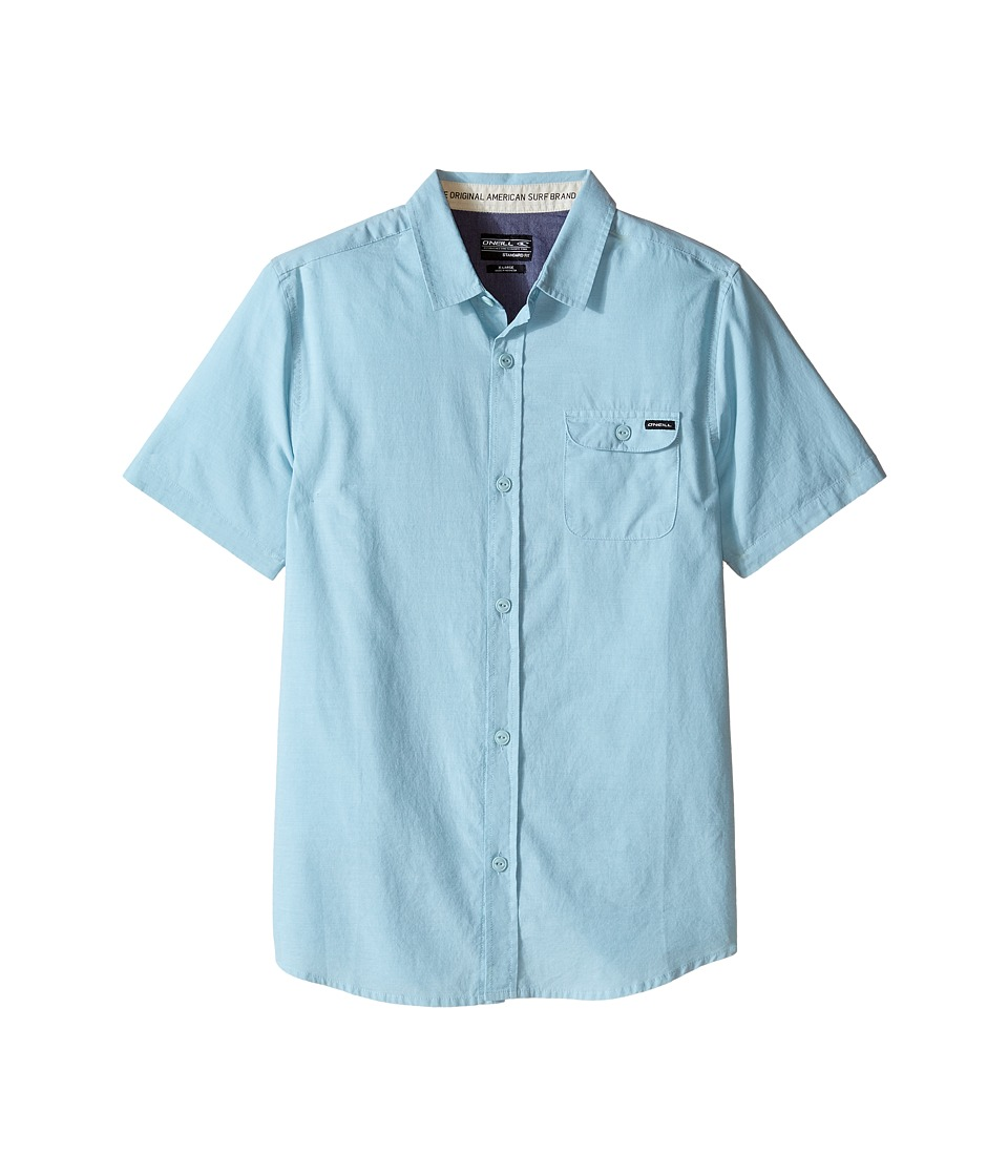 O'Neill Kids - Emporium Solid Short Sleeve Woven Top (Big Kids) (Turquoise) Boy's Short Sleeve Button Up