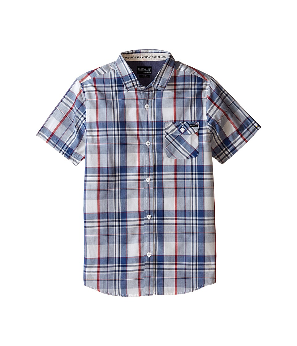 O'Neill Kids - Emporium Plaid Short Sleeve Woven Top (Big Kids) (Blue) Boy's Clothing